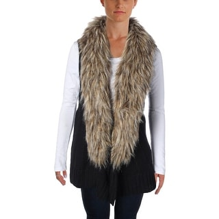 BB Dakota Womens Faux Fur Knit Casual Vest