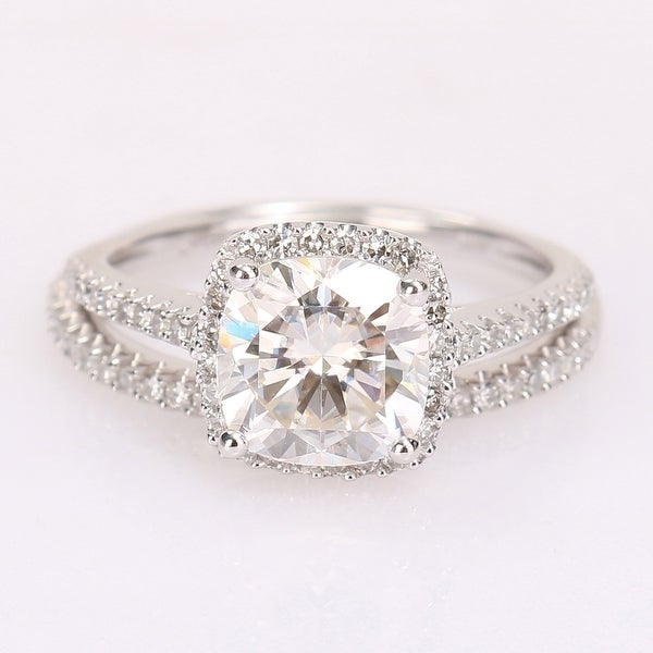 2ct TGW Cushion-Cut Moissanite and 1/3ct TDW Diamond Bridal Ring Set in 14k White Gold by Miadora. Opens flyout.