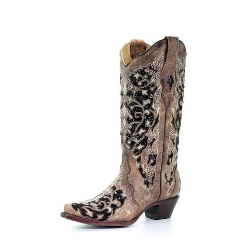"""Corral Western Boots Womens Inlay Floral Embroidery 12"""" Brown"""