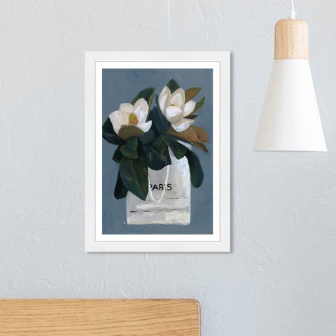 Wynwood Studio 'Precious Gift' Floral and Botanical Wall Art Framed Print Florals - Blue, Green