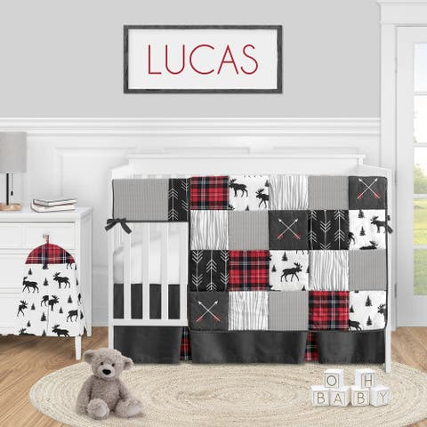 Woodland Plaid Arrow Collection Boy 5-piece Nursery Crib Bedding Set - Red and Black Moose Rustic Patch