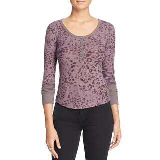 We The Free Womens Davis Henley Top Textured Printed