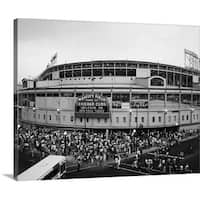 Premium Thick-Wrap Canvas entitled Tourists outside a baseball stadium at opening night, Wrigley Field, Chicago