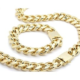 "Mens Gold Tone Big Heavy Cut Hip Hop 18mm 30"" Inchs Cuban Chain & 18mm 9"" inchs"