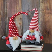 2-Piece Red, White and Gray Smiling Santa and Mrs. Claus Pixie Gnome Couple 20.5""