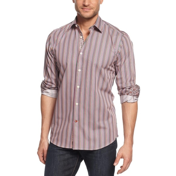 TALLIA Orange Mens Striped Long Sleeve Shirt Medium M 15.5 Purple Combo