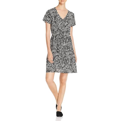 Eileen Fisher Womens Casual Dress V Neck Printed