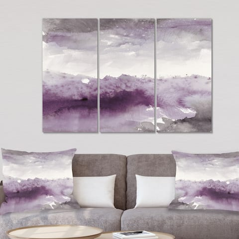 Designart 'Midnight at the Lake II Amethyst and Grey' Shabby Chic Canvas Artwork