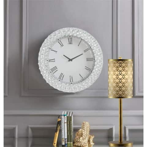 """20"""" Transparent Glass Wall Clock in Mirrored & Faux Crystals"""