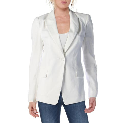 Kobi Halperin Womens Sharon One-Button Blazer Notch Lapel Linen Blend