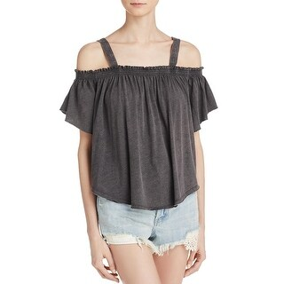 Free People Womens Casual Top Ruffled Short Sleeves