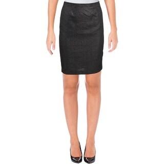 Calvin Klein Womens Petites Straight Skirt Metallic Patterned