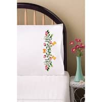 "Stamped Pillowcase Pair For Embroidery 20""X30""-Butterflies & Roses"