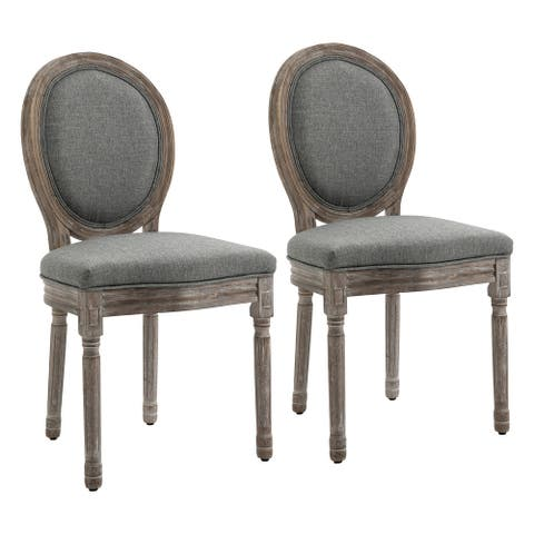 HOMCOM Armless French Chic Dining Chair with Curved Backrest and Linen Upholstery, Set of 2, Grey