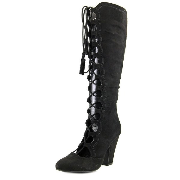 Mia Evelina Women Pointed Toe Synthetic Black Knee High Boot