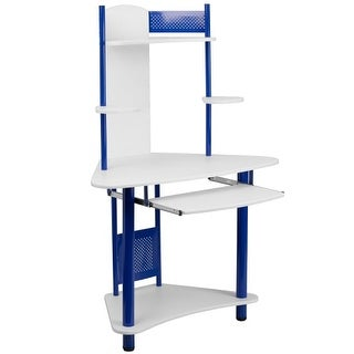Delacora FF-NAN-JN-2705-GG 39 Inch Wide Metal Framed Wood Top Computer Desk with