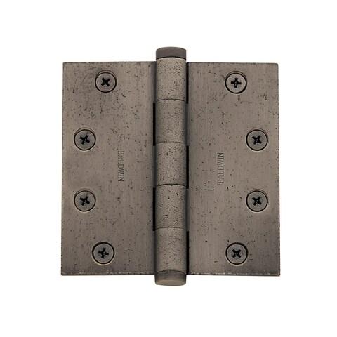 "Baldwin 1046.I 4.5"" x 4.5"" Solid Brass Square Corner Ball Bearing Mortise Hinge - Single Hinge"