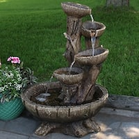 Sunnydaze Outdoor Five Tier Wooden Bowl Water Fountain with LED - 32 Inch Tall