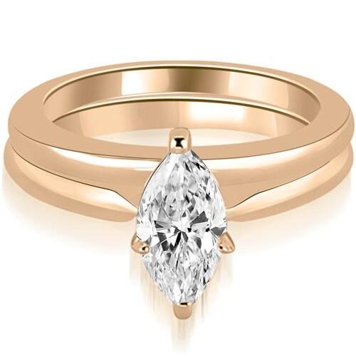 0.75 cttw. 14K Rose Gold Classic Solitaire Marquise Cut Diamond Bridal Set