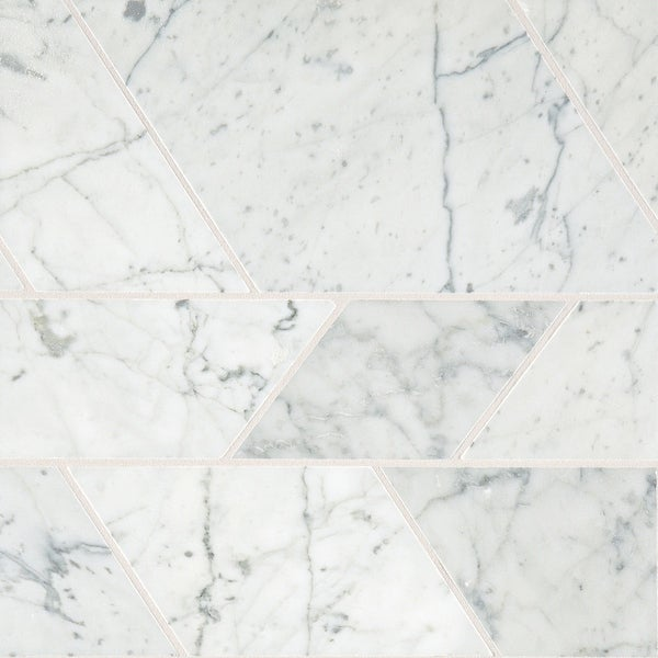 Daltile MMODERNMSL Marble Collection - Random Trapezoid Mosaic Wall & Floor Tile - Polished Marble Visual - Carrara White