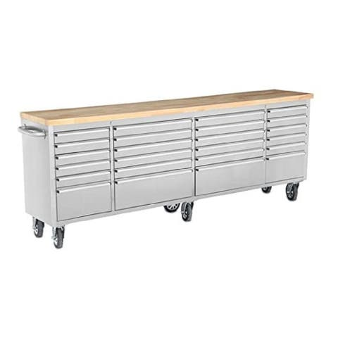 """LYCAN 96""""W Stainless Steel 24 Drawer Rolling Tool Chest Cabinet with Work Station"""