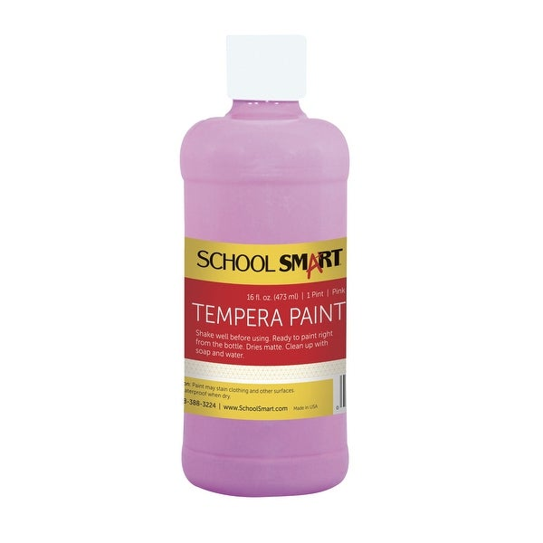 School Smart Non-Toxic Multi-Purpose Liquid Tempera Paint, 1 pt Plastic Bottle, Pink