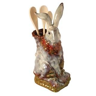 Porcelain Sculpted Rabbit Utensil Holder - Kitchen Crock Flower Vase - 14 in.