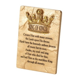 """6"""" Gold and Brown Tabletop Crown Him with Many Crowns Rectangular Plaque"""