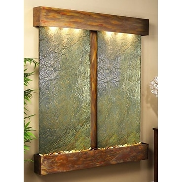 Adagio Cottonwood Falls Fountain w/ Green Natural Slate in Rustic Copper Finish - Thumbnail 0