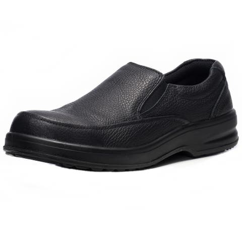 Alpine Swiss Arbete Mens Leather Slip-On Work Shoes Slip Resistant - Black