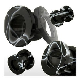 Screw Fit UV Marble Swirl Black Plug (Sold Individually)