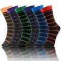 Men's 6 Pairs Stripes Colorful Patterned Dress Socks (Size 10-13) - Thumbnail 0