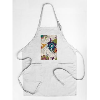 Hummingbirds & Flowers Pattern - Lantern Press Artwork (Cotton/Polyester Chef's Apron)