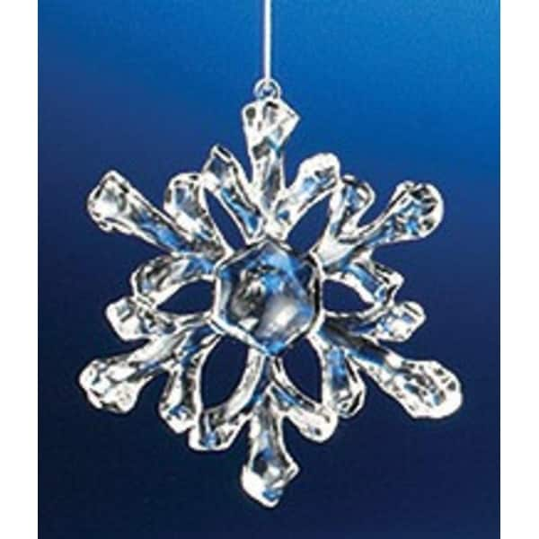 Club Pack of 36 Icy Crystal Decorative Small Snowflake Ornaments 3.5""