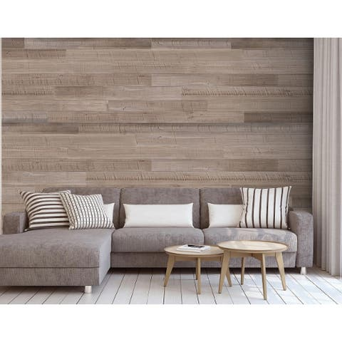 "HighlanderHome Peel & Stick Solid Wood Wall Panel,5"" x 48""/pc - 3Box"
