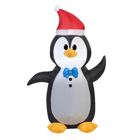 4' Black and White Inflatable Penguin Outdoor Christmas Decor