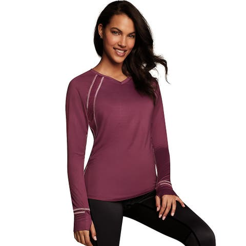 Maidenform Baselayer Active V-Neck Top - Color - Dark Mulberry Purple/Budding Pink - Size - XL