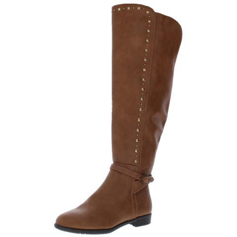 Rialto Womens Ferrell Riding Boots Faux Leather Knee-High