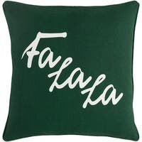 "18"" Snow White and Forest Green Decorative ""Fa La La"" Holiday Throw Pillow –Down Filler"