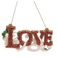 "4.75"" Merry & Bright Red  White and Green Glitter ""Love"" Inspirational Christmas Ornament"