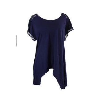 Vince Camuto Navy Eyelet Sleeves Asymmetrical T-Shirt L
