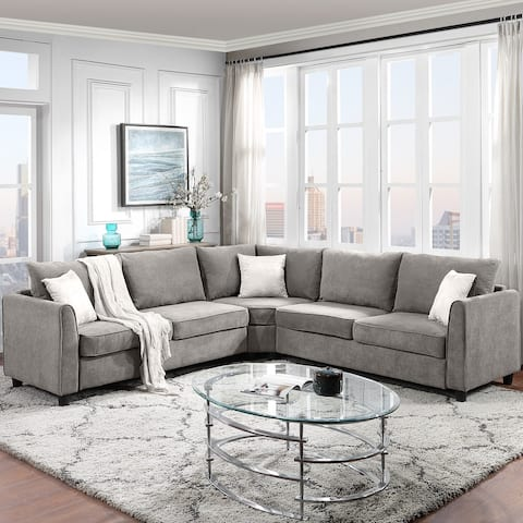 Big Sectional Sofa Couch L Shape Couch for Home Use Fabric Grey 3 Pillows Included