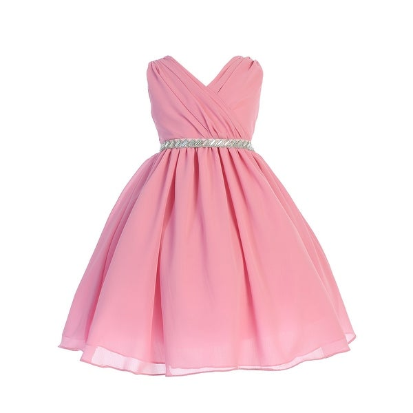bcd33b84cc Girls Dusty Rose Cross Body Chiffon Easter Junior Bridesmaid Dress
