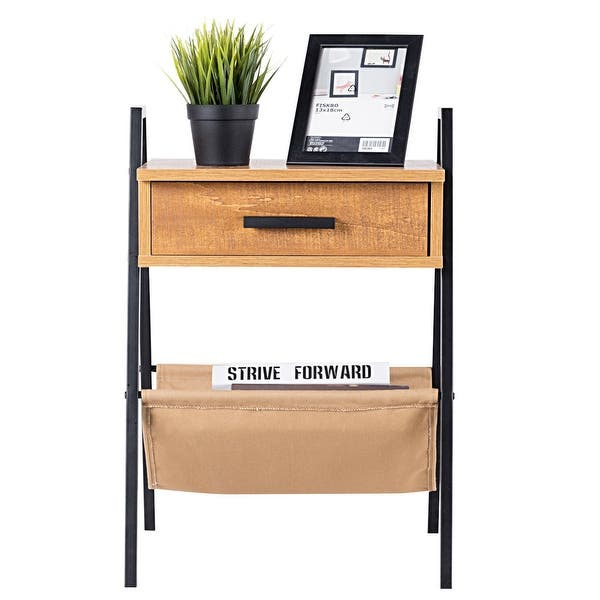 Accent End Side Sofa Table Nightstand Drawer Display Storage Bedside Table Desk