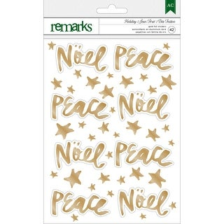 Holiday Remarks Foil Stickers-Gold Noel & Peace