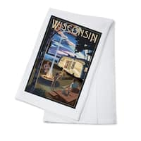 Wisconsin - Retro Camper & Lake - LP Artwork (100% Cotton Towel Absorbent)