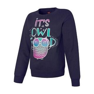 Hanes EcoSmart® Girls' It's Owl Good Crewneck Sweatshirt - Size - S - Color - It's Owl Good/Navy - Assorted