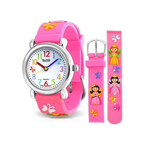 Princess Butterfly Waterproof Wrist Watch Time Teacher Quartz 3D Cartoon Pink Silicone Wristband Round Colorful Dial