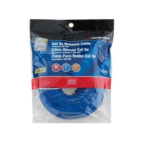 Monster 140269-00 Cat 5E Networking Cable, 100', Blue