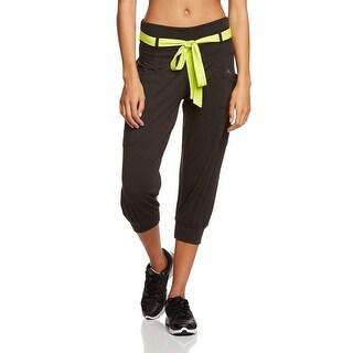 Women's XS Zumba Black & Neon Green Tri-Me Fame Capri Pants Z1B00245